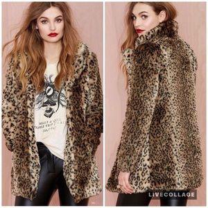 Nasty Gal Cat Skills Faux Leopard Print Coat. S